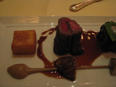 Daniel: Duo of dry aged beef (close up)