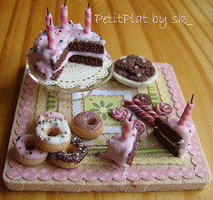 Miniature Food and My Birthday Cake (PetitPlat - Stephanie Kilgast) Tags: birthday pink cute rose cake table cookie handmade chocolate rosa polymerclay donut icing bead minifood sk collectible 112 anniversaire dollhouse dollshouse miniaturefood oneinchscale petitplat stephaniekilgast