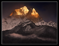 Clearing Storm over Ama Dablam by Michael Anderson (AndersonImages) Tags: travel nepal sunset camp mist mountain storm digital sunrise trekking island michael asia peak tibet hasselblad anderson monastery ama medium format wilderness himalaya spiritual sichuan everest base himalayas alpenglow amadablam michaelanderson dablam tengboche pheriche h2d