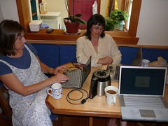 Cassie and Kerrie with Laptops (alist) Tags: alist dublinnh charlottelasky cassiecleverly alicerobison july2008 kerriekephart ajrobison