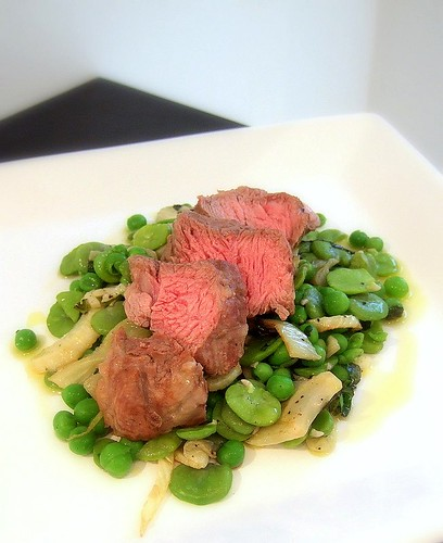 poached lamb with summer vegetables