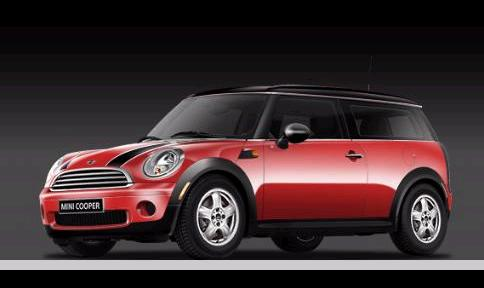 chili red cooper clubman, front