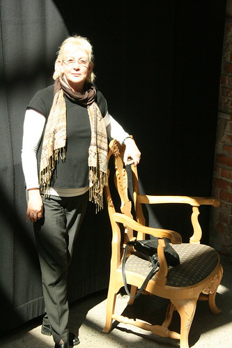 Patrice in Norway, with a chair
