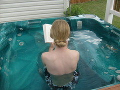 Me Reading in the Hot Tub
