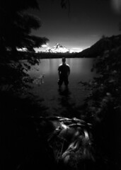 Found at Lost Lake, 240 seconds (Zeb Andrews) Tags: bw selfportrait mountains film oregon landscape ir scenery lakes pinhole mthood infrared pacificnorthwest lostlake memyselfandi zeroimage selfie zero69 bluemooncamera zebandrews pinscapes efkeir820c primitivecameras zebandrewsphotography