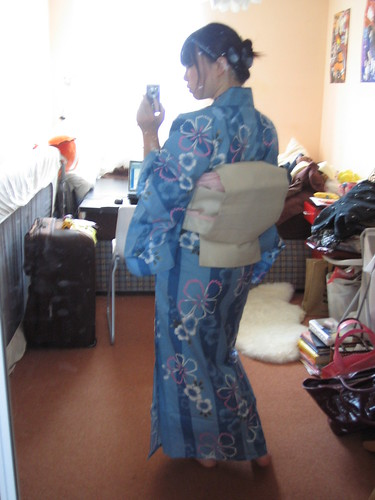 Stripey blue yukata - back