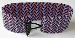 80's Glam (fivefootfury) Tags: pink black pattern purple 80s bracelet peyote cuff beaded beadwork
