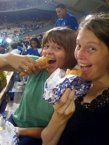 Eatin' Dodger Dogs with Ann-Marie