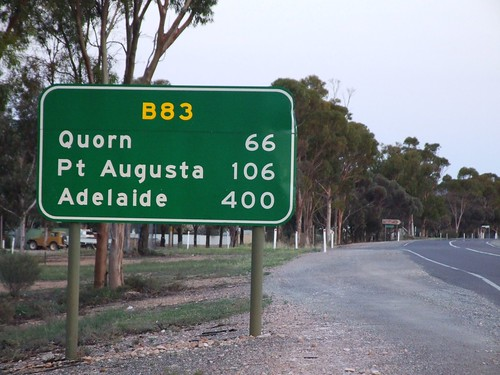 Road sign in the Flinders Ranges in South Australia