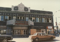 The Marquette Theatre building on West 63rd Street and South Kedzie Avenue. Chicago Illinois. March 1986.