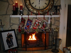 Stockings on the mantle by the fire