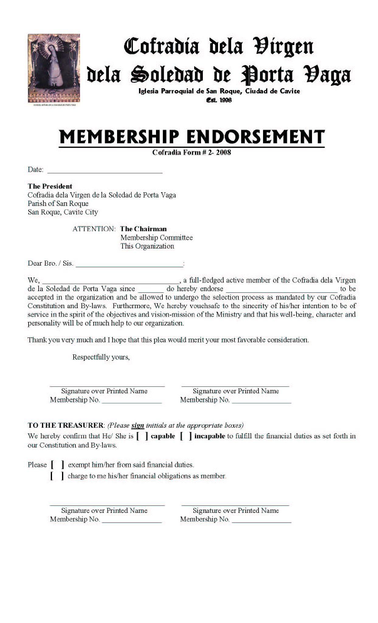 membershipENDROSEMENT-SOLEDAD