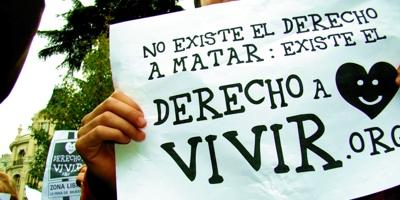 Pancarta de mano Derecho a Vivir