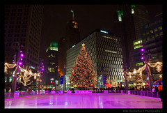 Fresh Ice! _ Campus Martius_ Detroit, MI. (MikeRyu) Tags: city windows winter snow ice colors architecture mi america canon buildings lights december streetlights michigan detroit americanflag campusmartiuspark christmastree icerink christmaslights american campusmartius lightpost chasebank 30d 313 detroitmichigan waynecounty iceskatingrink detroitarchitecture canoneos30d exposuredetroit canonefs1755mmf28isusm waynecountybuildings goldenheartaward expdet121308
