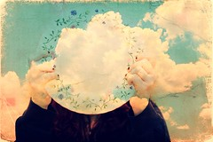 Day 124 - My head is still in the clouds (miriness) Tags: portrait art clouds nohead surrealism plate plates