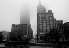 (Steinle) Tags: city trees shadow urban bw cloud white black tree oklahoma window fog clouds office downtown shot gray ground andrew steeple bok fade tulsa alpha offices disappear vanish steinle a200k