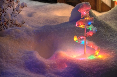 Snow and Christmas Lights in HDR