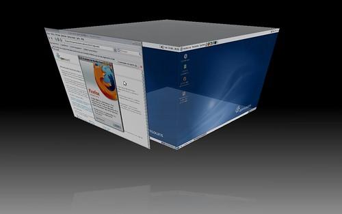 Le cube de Compiz Fusion dans OpenSolaris 11.2008