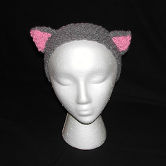Gray Cat Knit Headband Earwarmers with Kitty Ears (catlady_2010) Tags: anime cat punk cosplay emo knit kitty scene pixie headband earwarmers