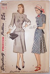 Vintage Simplicity Pattern 1866 Womens 40s 2 Piece Dress with Peplum and Buttoned Front Size 16, Bust 34, Waist 28, Hip 37 (Sassy By Design) Tags: she clothing flickr pattern dress top sewing skirt womens international cast etsy peplum 2piecedress size16 vubtage bust34 sasybydesign waist28 hip37 simplicity1866