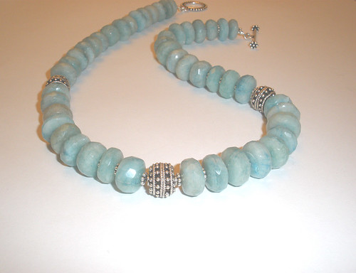 Caribbean Waters - Aquamarine and Bali Sterling Silver Necklace