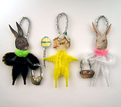 Vintage Style Chenille Easter Ornaments (oldworldprimitives) Tags: bunnies paper easter folkart handmade ornaments etsy chenille vintagestyle primitive primitives victorianstyle easterornaments etsynj feathertreeornaments primitivefolkart primitivecrafts oldworldprimitives easterfolkart