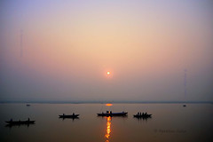 SUN RISE (Apratim Saha) Tags: blue people sun india color sunrise river landscape boat nikon bokeh indian nikond70s varanasi dailylife kashi soe ganga national