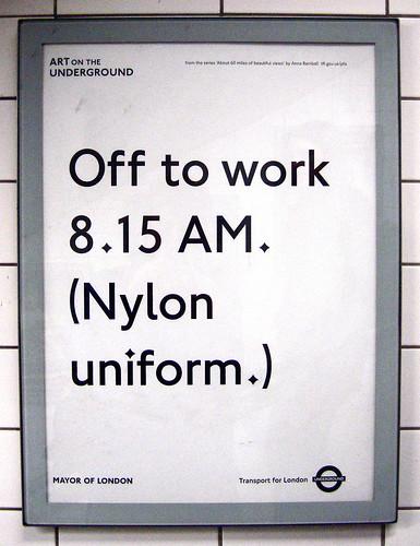 Off to work 8.15 AM. (Nylon uniform.)