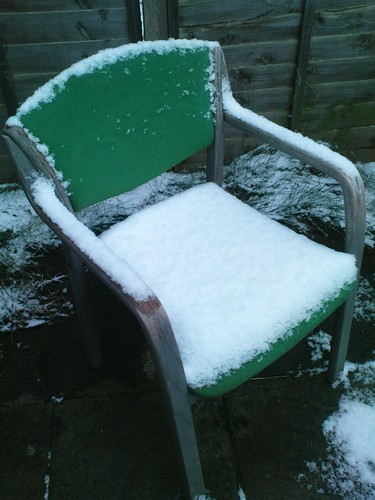 snow on chair