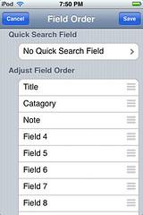 HanDBase - Database Field Order
