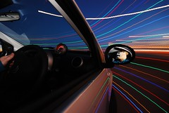 In a spin (AndWhyNot) Tags: blue light portrait people horse man motion reflection car night portraits person mirror crazy movement long exposure driving citroen trails andrew crew hour horsehead whyte c1 vtr andwhynot 8129
