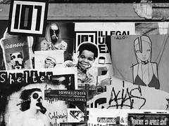 Libere affissioni (...uno che passava... (senza ombrello)) Tags: urban bw milano bn caos ticinese bncittà streetartstratificata concertipassati