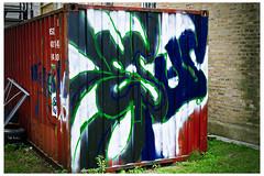 Forgetting the Nature of My Visit (swanksalot) Tags: streetart dumpster 35mm graffiti ukrainianvillage swanksalot sethanderson