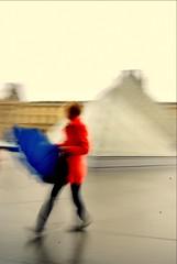 I lOVE Paris (Nicolas Valentin) Tags: paris glass girl umbrella rouge famous windy landmark bleu blanc lelouvre piramide tricolore mywinners abigfave superbmasterpiece diamondclassphotographer