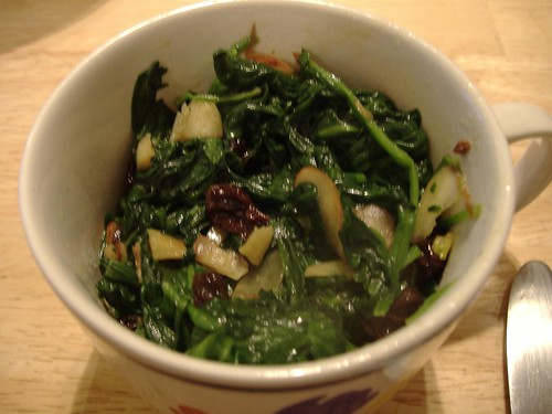 Spinach with Nuts and Raisins