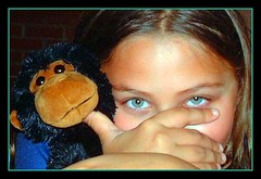 My monkey (Diana Bella) Tags: girl beautiful look monkey eyes hands pretty child lovely1 stuffedanimal lovely sute