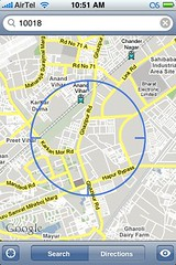iPhone cell-tower geolocation works in Delhi.