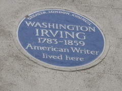 Photo of Washington Irving blue plaque