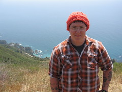 Wearing a Judith-made hat in Big Sur