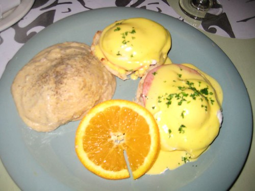 gorgeous eggs Benedict served with a side of blue-corn grits