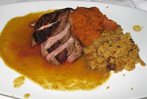 Roasted Duck Breast with Barq's Candied Sweet Potatoes