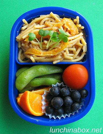 Tarako spaghetti bento lunch for preschooler