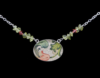 Italian Rossi Paper Necklace w/ Swarvoski crystal and peridot set in a Sterling Silver Bezel
