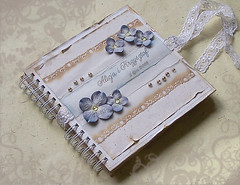 wedding album (latarnia_morska) Tags: flowers blue wedding white wasted ink butterfly scrapbooking paper gold wire acrylic lace album victorian drop weathered punch chic prima binding vellum shabby ecru elegantly binditall