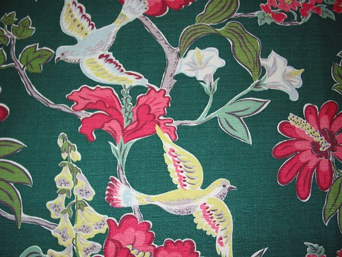 Pretty Birds Vintage Barkcloth
