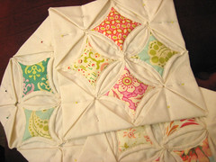 cathedral window quilt in progress (mochistudios) Tags: quilt inprogress handstitched cathedralwindowquilt heatherbaileyfreshcut