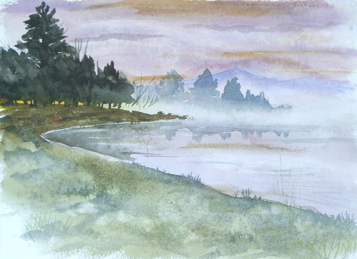 Watercolor Landscape - Foggy Lake