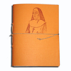 Orange Bar-Nun (Emily Levenson) Tags: orange brown writing paper notebook book catholic recycled journal nun button etsy printerpaper hemp guilt rnd cardstock subu scketchbook suburose subuinc colorrecycled