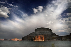 Evening thunderstorm over Gunsight Butte. (jssutt) Tags: sunlight clouds houseboat getty thunderstorm gettyimages lakepowell padrebay gunsightbutte ultimateshot diamondclassphotographer goldstaraward jssutt thewanderlust jeffsuttlemyre enchantedsapphire