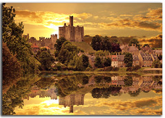 Warkworth Castle (DDA / Deljen Digital Art) Tags: uk trees houses sunset england sky cloud reflection castle nature stone architecture photoshop buildings river ancient village medieval northumberland hilltop warkworth dwellings nationalheritage
